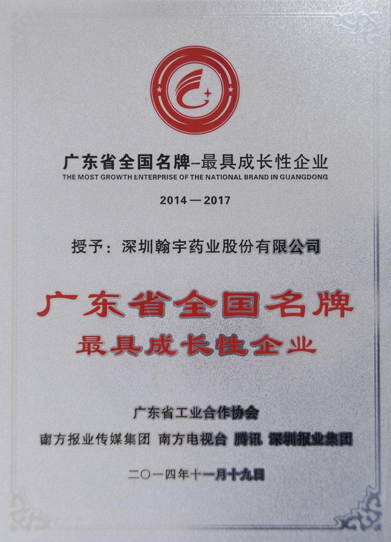 广东省全国名牌最具成长性企业